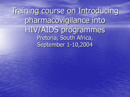 Training course on Introducing pharmacovigilance into HIV/AIDS