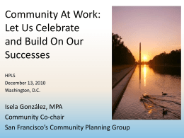 Isela González - Community At Work: Let Us