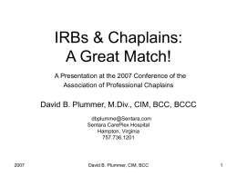 Chaplains & IRBs: A Great Combination!