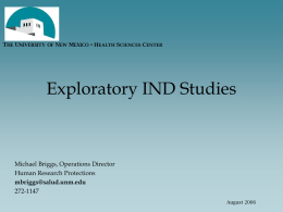 Exploratory IND Studies - UNM Health Sciences Center