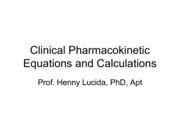 Clinical Pharmacokinetic Equations and Calculations