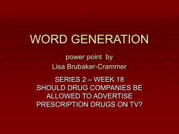 WORD GENERATION - cdsd.k12.pa.us