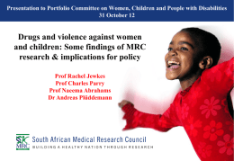 Presentation to Portfolio Committee on Women, Children and