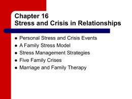 Chapter 16 Stress and crisis in relationships
