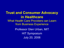 Trust and Consumer Advocacy in Healthcare