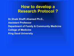 ProtocolwritingUG(1431). - King Saud University Medical Student