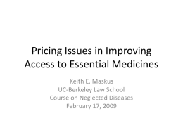 Pricing Issues in Improving Access to Essential