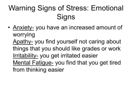 Warning Signs of Stress: Emotional Signs