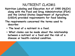 Nutrient Claims - Dublin City Schools