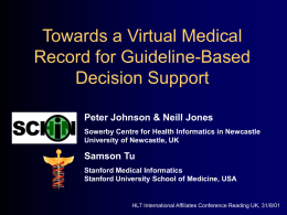 Towards a Virtual Medical Record for Guideline