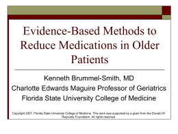 Evidence-Based Methods to Reduce Medications in Older Patients