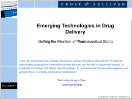 Emerging Technologies in Drug Delivery
