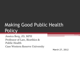 Designing a Health Policy Project