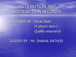DISTRIBUTION AND DISTRIBUTION RECORDS