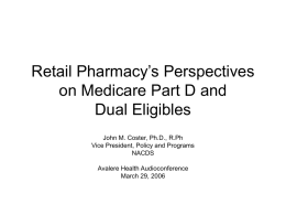 Retail Pharmacy`s Perspectives on Medicare Part D