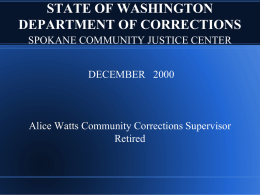 STATE OF WASHINGTON DEPARTMENT OF CORRECTIONS