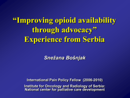 Snezana Bosnjak - Drug Availability