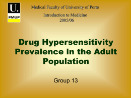 Drug Hypersensibility Prevalence in the Adult Population of Porto