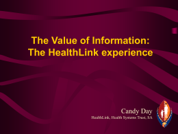 The HealthLink Experience in South Africa