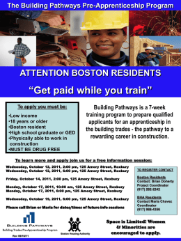 Building Pathways is a 7-week training program to prepare qualified