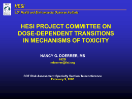HESI Project Committee on Dose-Dependent