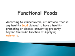 Functional Foods PPT - Dublin City Schools
