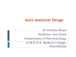 Anti-Malarials - GMERS Medical College Sola