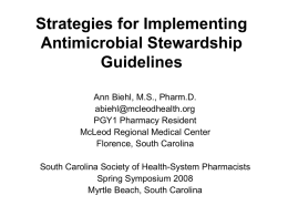 Strategies for Implementing Antimicrobial Stewardship Guidelines