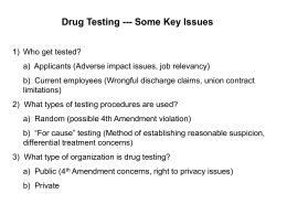 Summary of Key Drug Testing Issues