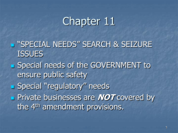 """Special Needs"" of government"