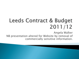 TADS Presentation - Contract and Budget (AW 14/12/11)