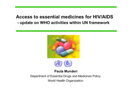 Access to essential medicines for HIV/AIDS - WHO archives
