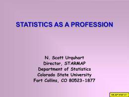 statistics as a profession - Colorado State University`s Department of