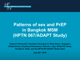 Patterns of sex and PrEP in Bangkok MSM (HPTN 067/ADAPT Study)