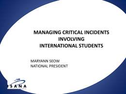 managing critical incidents involving international students