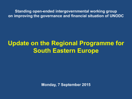 UNODC Regional Programme for South Eastern Europe United