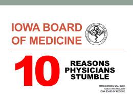 Top 10 Reasons Physicians Stumble-