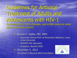 Guidelines for Antiviral Treatment of HIV