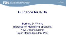 FDA Guidance for IRBs