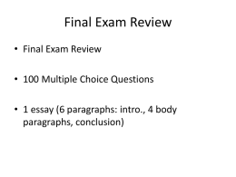 PPT: Final Exam Review