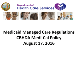 DHCS Medicaid Managed Care Regulations Powerpoint