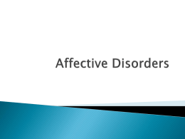 Affective and Anxiety Disorders