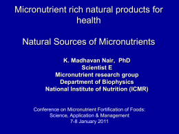 Natural Sources of Micronutrients