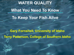 Water Quality Power Point - What you need to know to keep