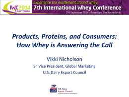 Products, Proteins, and Consumers: How Whey is