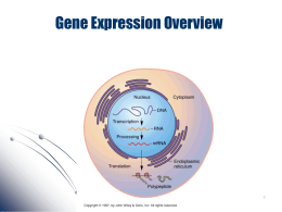 Gene Expression Overview - University of California, Irvine