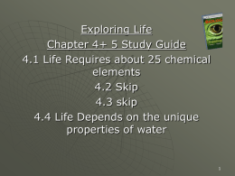 4.4 Life Depends on the unique properties of water