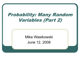 Probability: Many Random Variables (Part 2)