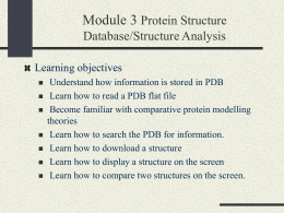 Protein Stucture Database/Structure Analysis