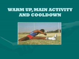 warm up, main activity and cooldown - pe